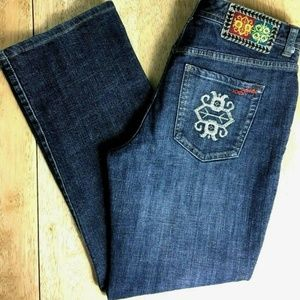 Chico's 0.5 (Sz-6) Aztec Embroidered Cropped Jeans